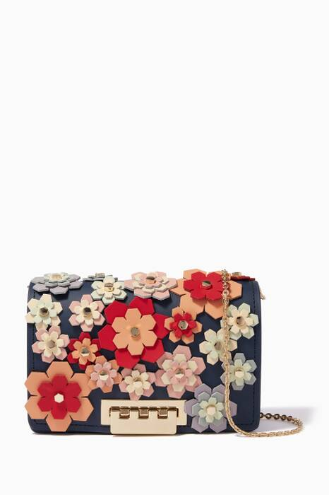 Navy Floral Earthette Accordion Chain Cross-Body Bag