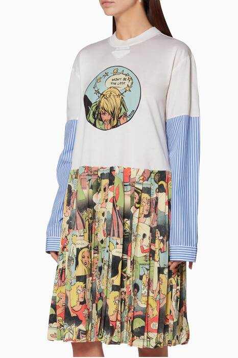 Multi-Coloured Comic-Print Shirtdress