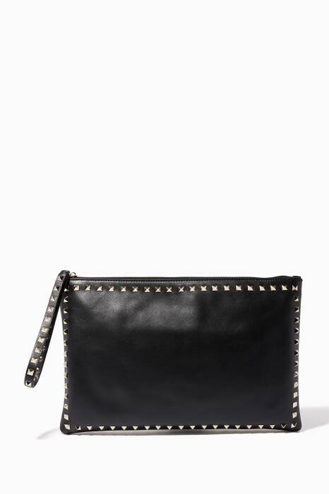 Black Rockstud Flat Clutch