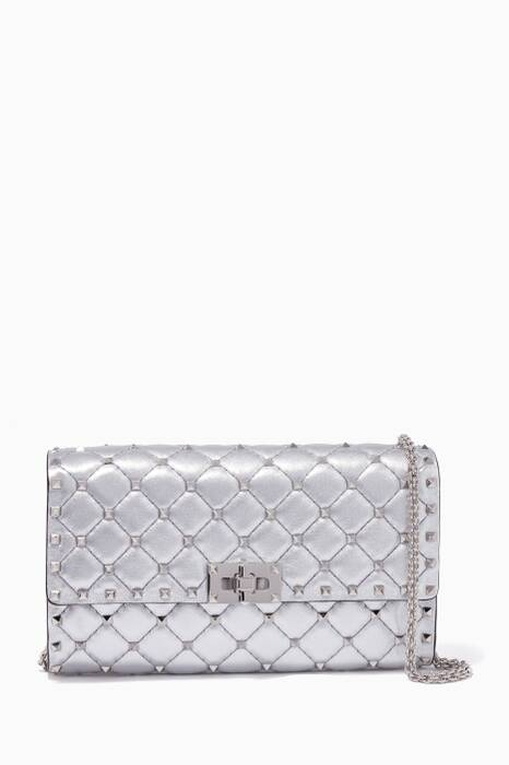 Silver Rockstud Spike Small Leather Clutch