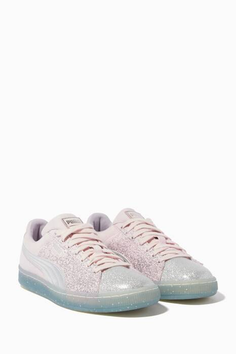 Lilac Suede Glitter Princess Sneakers