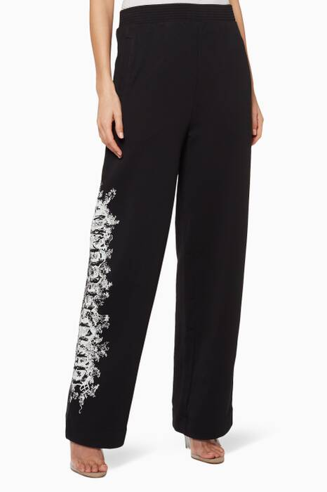 Black Printed Track Pants