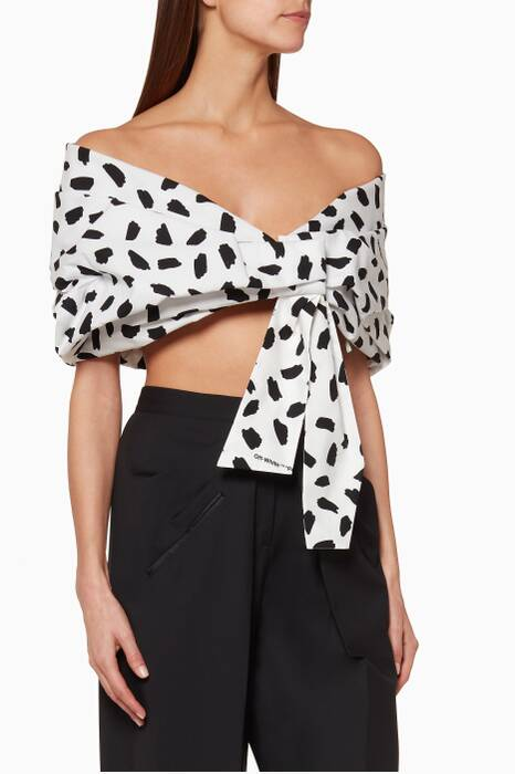 White Printed Off-The-Shoulder Top