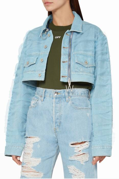 Light-Blue Cropped Denim Jacket
