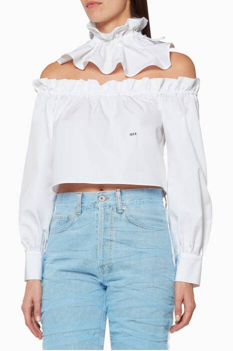 White Off-The-Shoulder Gorget Top