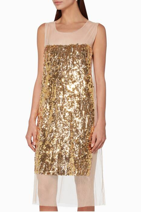 Gold Embellished Slip Dress