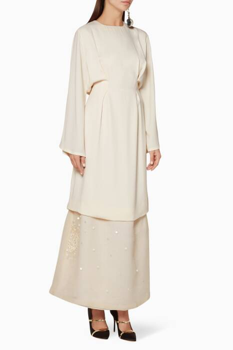 Cream Embellished Hem Long Dress