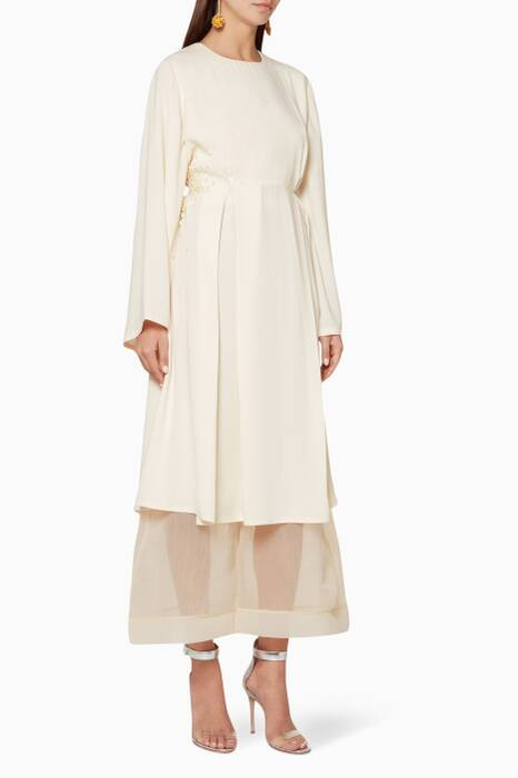 Cream Flared Sleeve Dress With Organza Pants