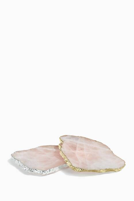 Gold Kivita Rose-Quartz Coasters, Set Of 2