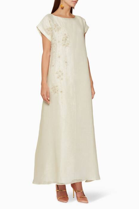 Cream Pearl-Embellished Sleeveless Kaftan