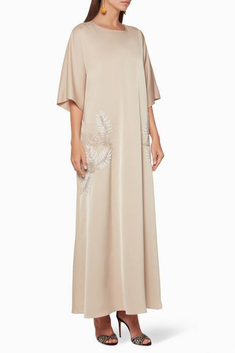 Light-Gold Embellished Pocket Kaftan