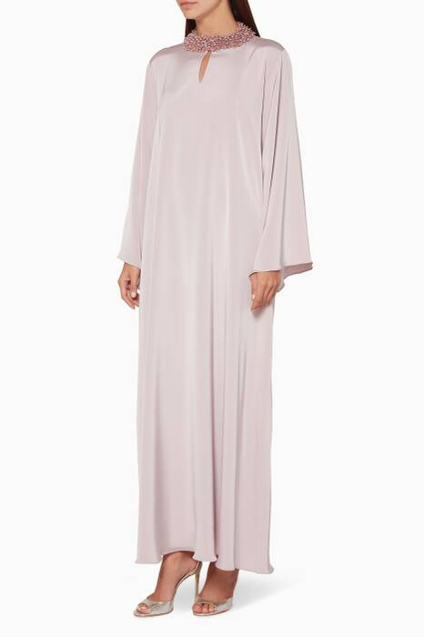 Dusty-Pink Beaded Neckline Kaftan