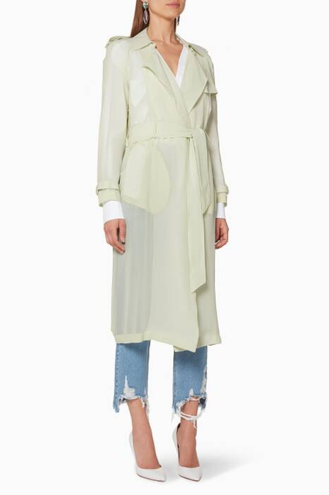 Light-Green Silk Trench Coat