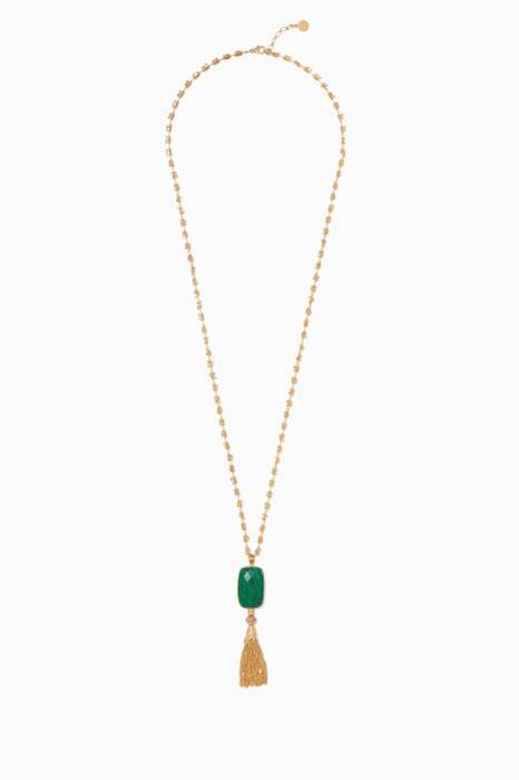 Gold Serti Tasseled Necklace
