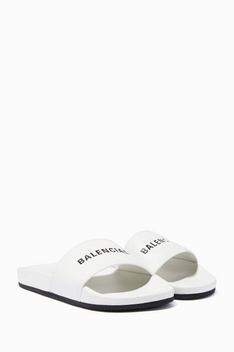 White Balenciaga Leather Slides