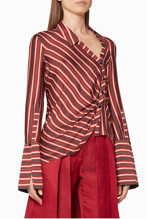 Multi-Coloured Striped Asymmetrical Shirt
