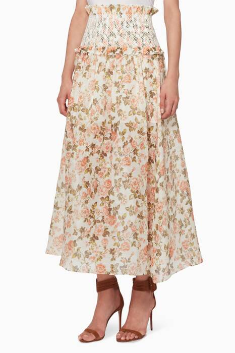 Peach-Rose Floral-Print Radiate Smocked Maxi Skirt