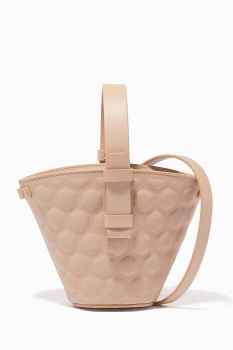 Beige Mini Nelia Bucket Bag
