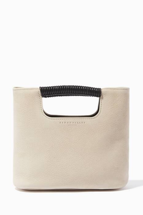 Pearl-Grey Mini Birch Nubuck Tote Bag