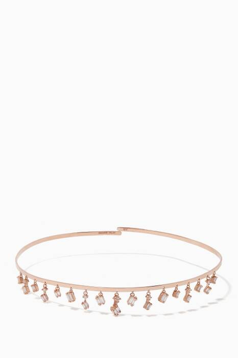 Rose-Gold & Diamond Baguette Cascading Wire Choker