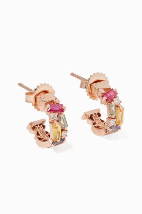 Rose-Gold & Rainbow Fireworks Huggie Earrings