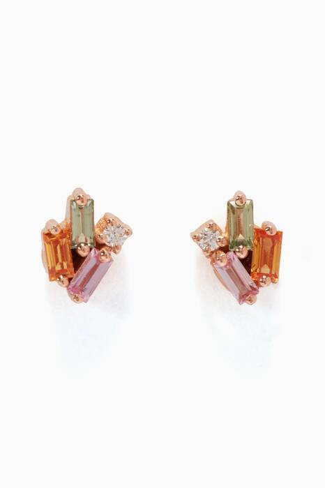 Rose-Gold & Sapphire Diamond Post Earrings