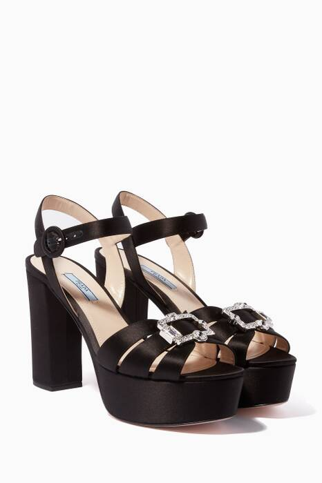 Black Satin Brooch Platform Sandals