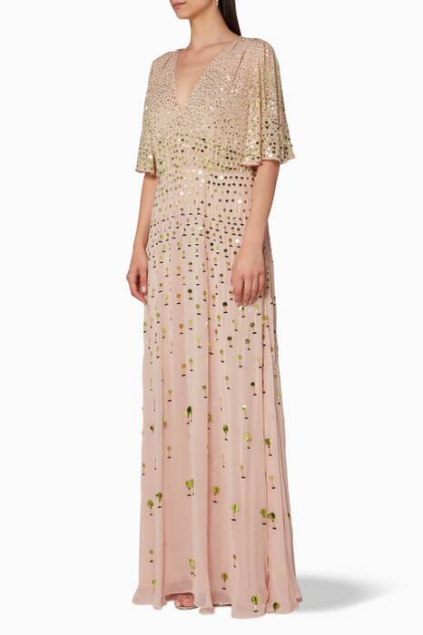 Peach Sequin-Embellished Topiary Dress