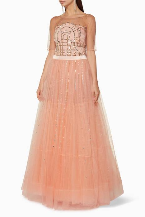 Peach Cannes Embellished Gown