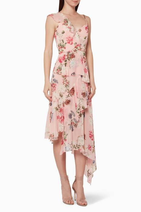 Light-Pink Floral-Print Midi Dress