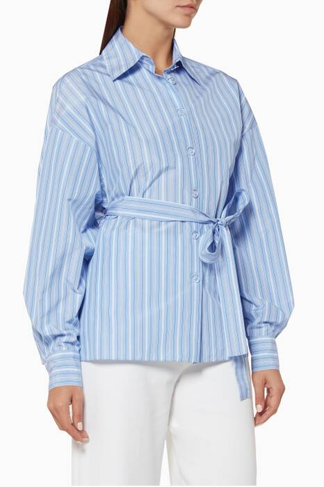 Light-Blue Striped Cape-Back Shirt