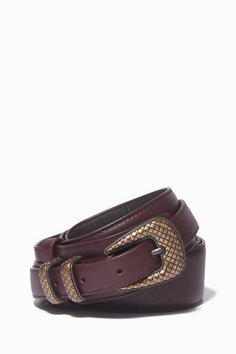 Brown Leather Buckled Belt