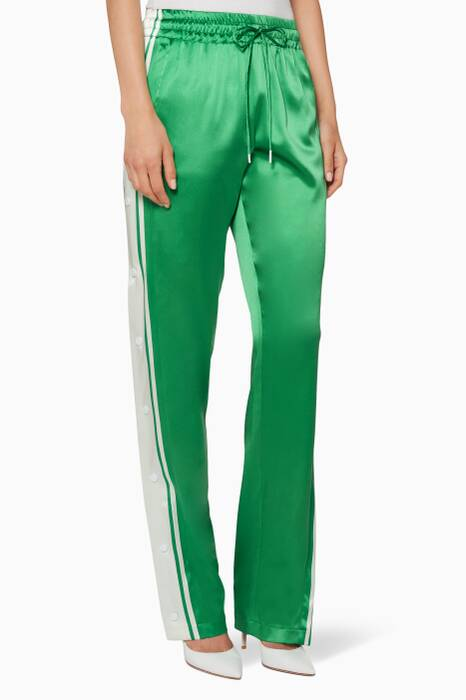 Green Side-Snap Track Pants
