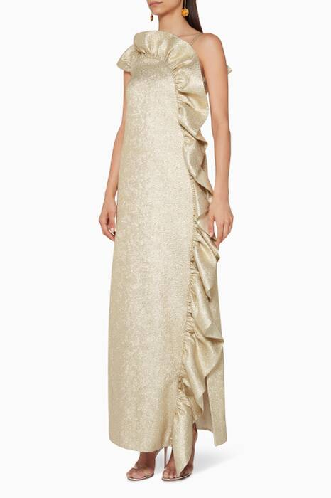 Gold Frill-Front Maxi Dress