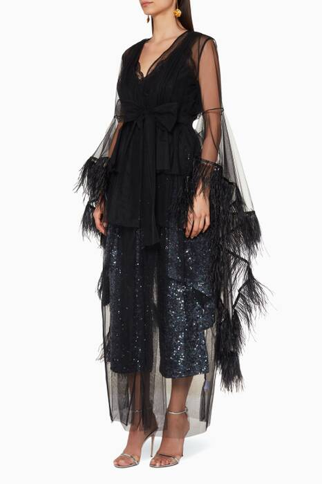 Black Boudoir Feather-Trimmed Robe Gown
