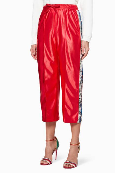Red Sequin Embellished Trackpants