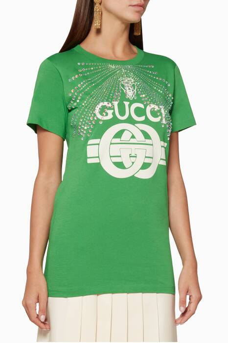 Green Crystal-Embellished Printed T-Shirt