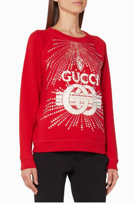 Red Guccy Crystal Embellished Sweatshirt