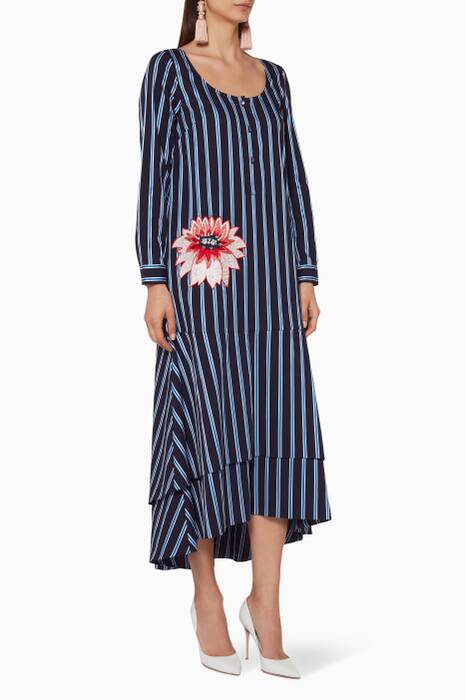 Navy Striped Embroidered Midi Dress