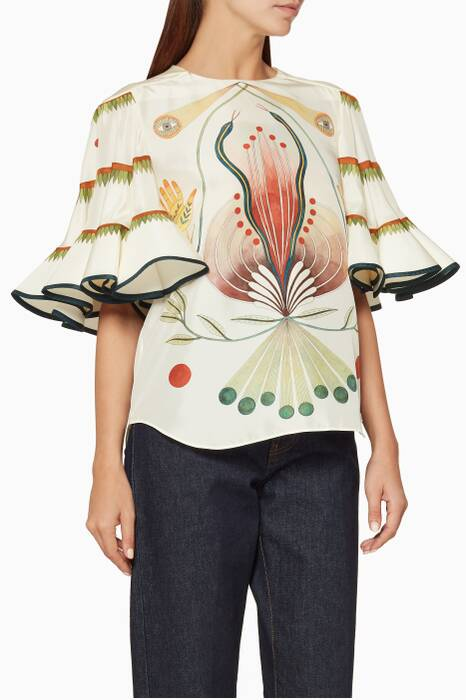 Ivory Printed Ruffled-Sleeve Top