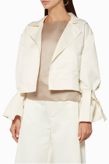 Cream Cropped Satin Jacket
