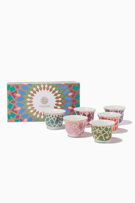 Coloured Porcelain Qahwa Cup, Set Of 6