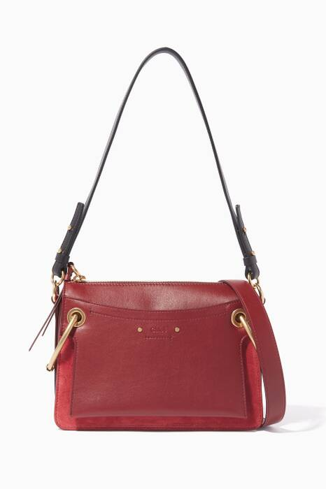 Plum-Purple Small Roy Leather Shoulder Bag