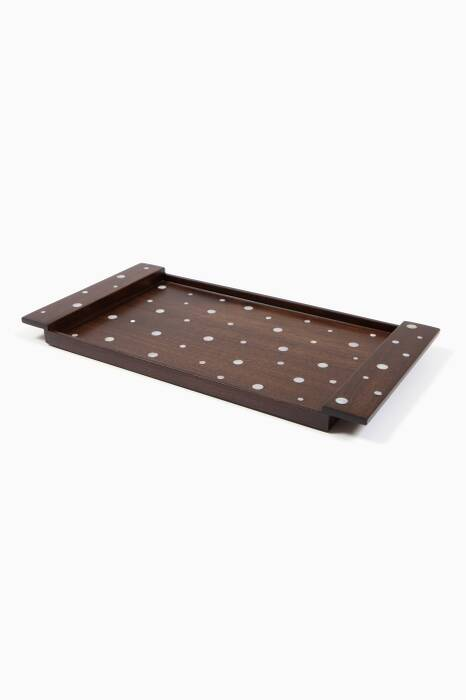 Brown Walnut & Mother Of Pearl Large Classic Tray