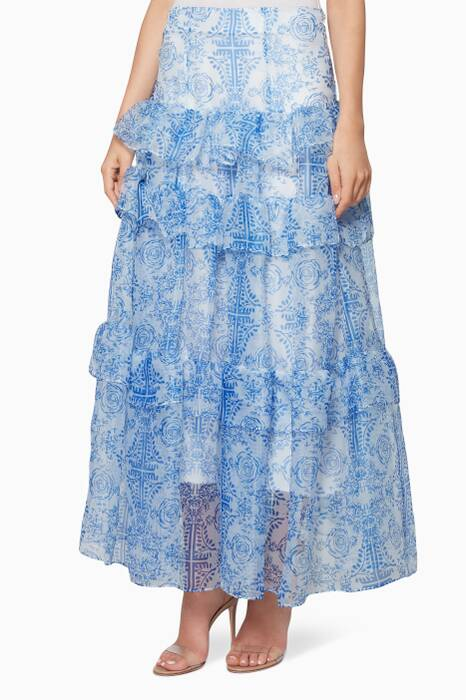 Blue Floral-Print Tiered Flores Skirt