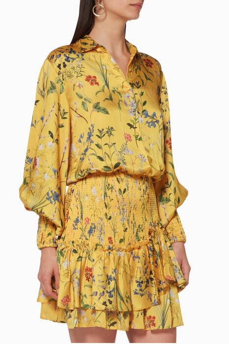 Yellow Floral-Print Irianna Dress