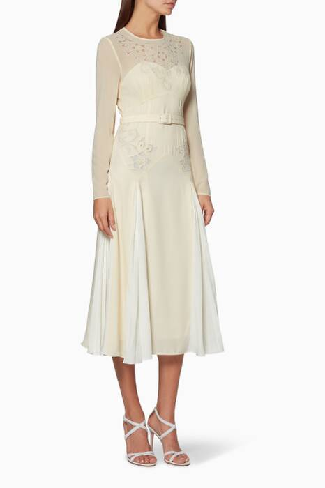 Ivory Embroidered Midi Dress