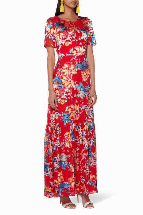 Red Lorna Floral-Print Maxi Dress