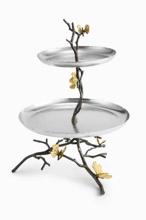 Butterfly Gingko Two-Tier Etagere