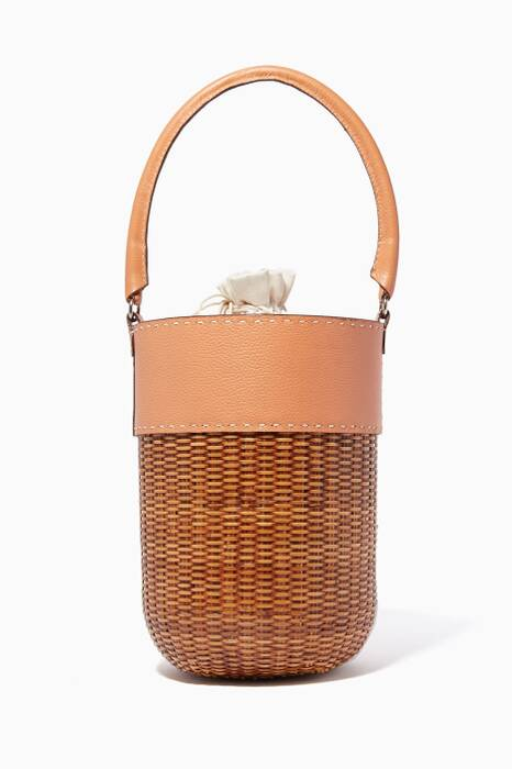 Brown Lucie Wicker Tote Bag